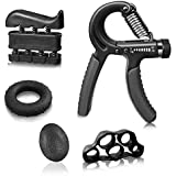 5 Pack Hand Grip Strengthener Workout Kit Adjustable Hand Gripper(11-132lbs), Finger Exerciser, Finger Stretcher, Exercise Ring & Stress Relief Grip Ball for Athletes and Musicians