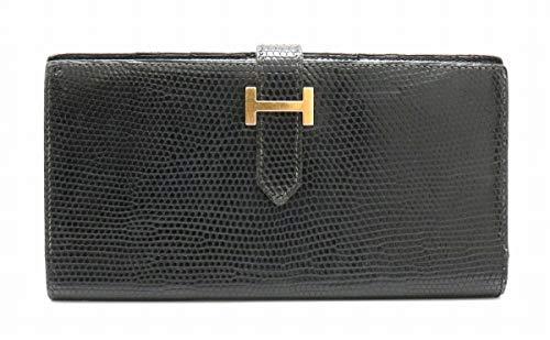 [エルメス] HERMES ベアン クラシック 2つ折 長財布 リザード レザー 黒 ブラック ゴールド金具 □B刻印 [中古]