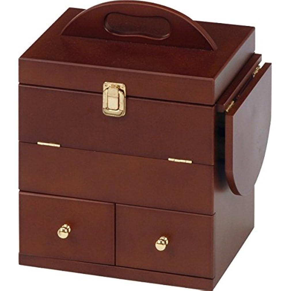 落花生時間とともに知っているに立ち寄るSEMI-HG 三面鏡付き メイクボックス (ホワイト) コスメボックス 木製 化粧箱 大容量 バニティ 鏡付き HG-MUD-6930 (ブラウン)
