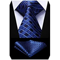 HISDERN Ties for Men Classic Business Silk Tie + Handkerchief Formal Party Suit Necktie & Pocket Square Set