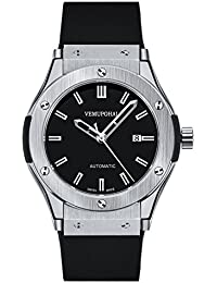 Vemupohal 機械式時計 自動巻き 防水 ミニマリスト レトロスタイル ヘアライン カレンダー 自動機械式時計 鉱物強化ガラス ステンレス鋼 バーストラップ 5ATM防水 豪華なメンズ腕時計 手巻き(シルバー)