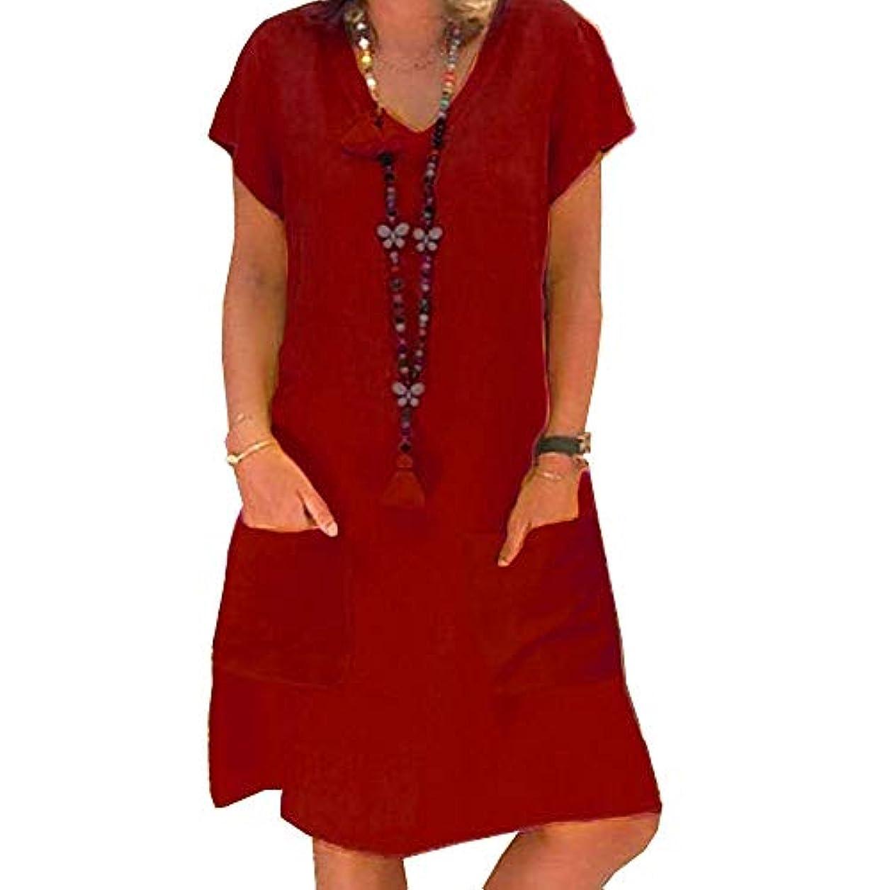 モネ軌道適度なMIFAN プラスサイズ、リネンドレス、サマードレス、カジュアルドレス、ルーズドレス、Vネック、半袖、ビーチドレス