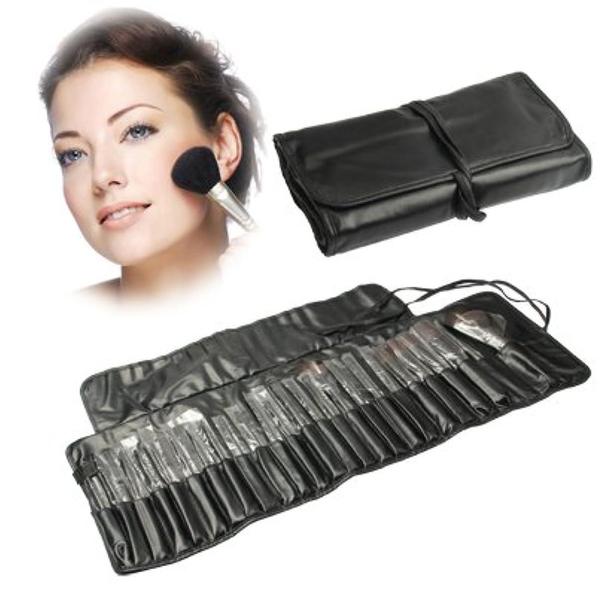 広範囲そこ膨張するMEI1JIA QUELLIAプロフェッショナル25pcsメイクブラシセット美容キット化粧品+ PUレザーキャリングケース(ブラック)