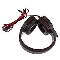 KESOTO ノイズアイソレーション マイク/LED スーパーベース ゲーミングステレオヘッドセット 高弾性 全3色 - 黒と赤