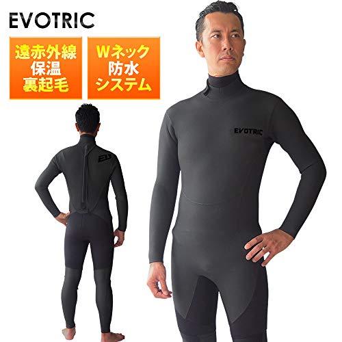 セミドライスーツ ウェットスーツ メンズ サーフィン EVOTRIC 5/3mm バックジップ スキン ラバー Wネック 保温起毛素材 セミドライ ウエットスーツ 5mm 日本規格 大きいサイズ (BLACK, M)