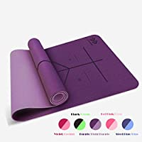 LIFEWAY Yoga Mat - All-Purpose 6mm Thick High Density Non-Slip Double-Sided TPE Yoga Mat with Carrying Strap -...