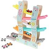 B Baosity 子供用 6層 木製 くるくるスロープ スロープ滑空レースカー トラック カープレイセット おもちゃ