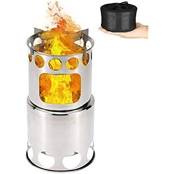 キャンプストーブ Linkax アウトドア用 ウッドストーブ 二次燃焼 燃料不要 キャンプ 焚火台 コンパクトステンレスストーブ 収納パック付