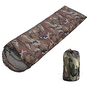 Luckycyc アウトドア 迷彩柄 寝袋 キャンプ 寝袋 封筒スタイル 迷彩 多機能 アウトドア旅行用