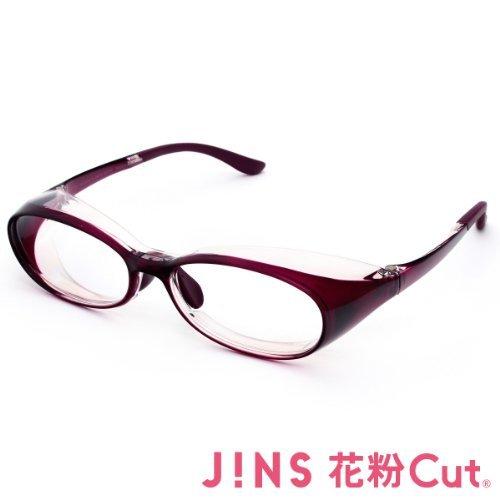【JINS 花粉Cut(R)】花粉最大98%カット!異物からスタイリッシュに眼を守るメガネ オーバル(度なし)WINE