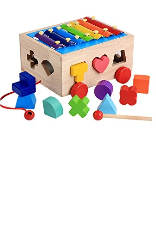 yasushoji 木のおもちゃ 知育玩具 図形 パズル 形はめ ブロック 積み木 車 幼児 プレゼント お祝い (スマートカーB)