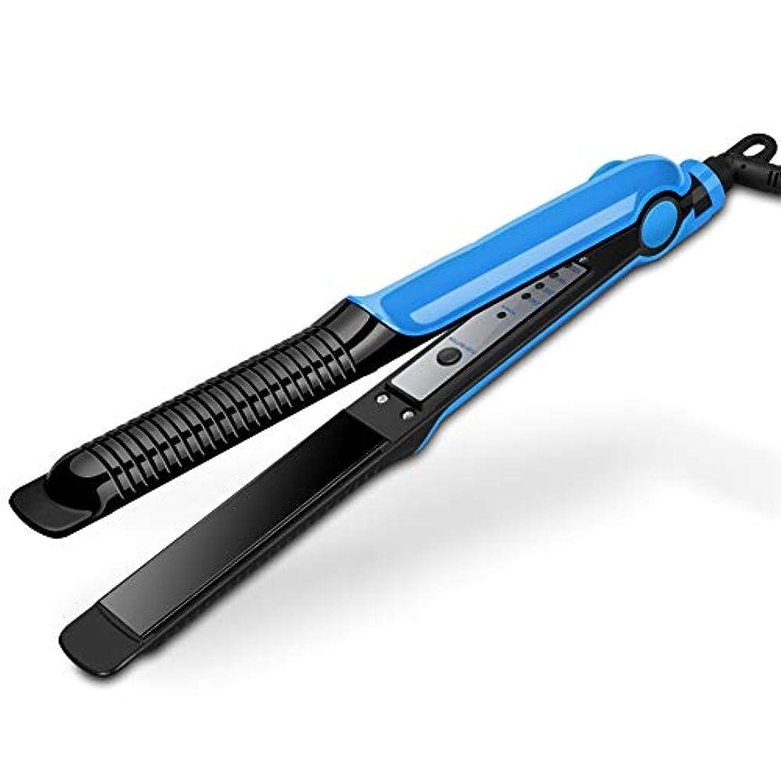 終わった肺炎速い多機能調節可能な温度ストレートヘアストレートラインデュアルユースウェットアンドドライデュアルユース自動一定温度4スピードサーモスタットパネル均一に熱は髪を傷つけません30秒ホットパープルブルー (Color : Blue)