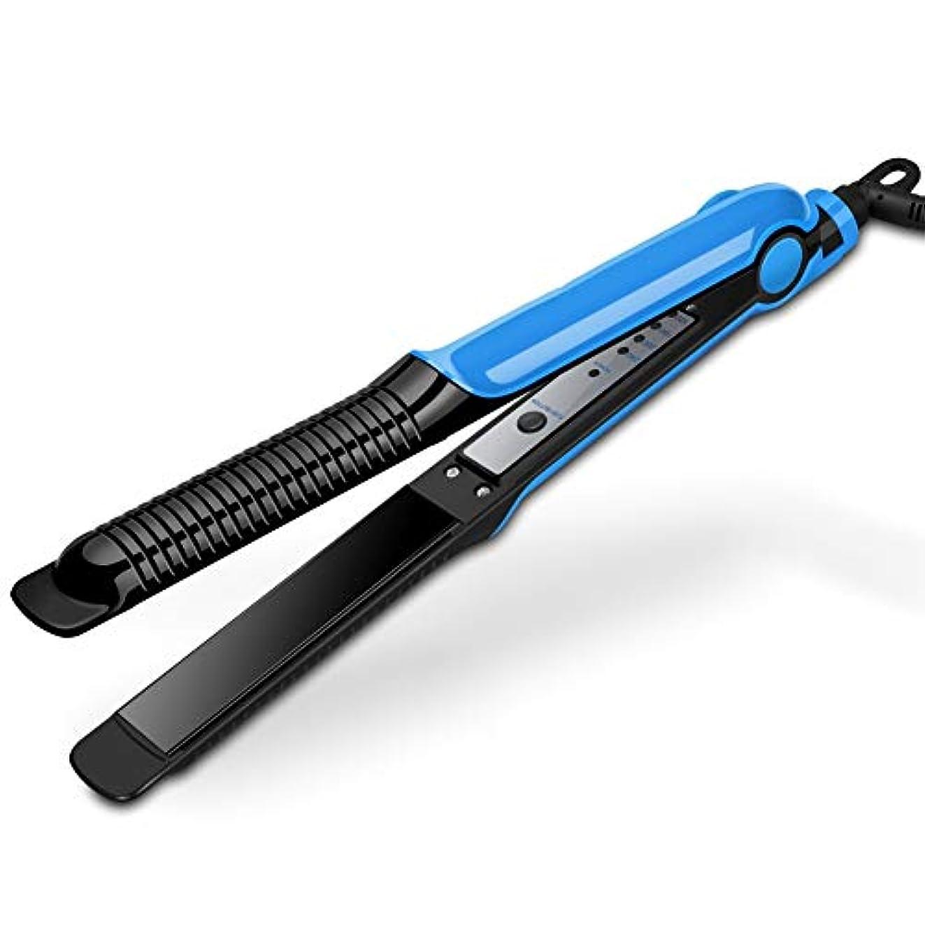 多機能調節可能な温度ストレートヘアストレートラインデュアルユースウェットアンドドライデュアルユース自動一定温度4スピードサーモスタットパネル均一に熱は髪を傷つけません30秒ホットパープルブルー (Color : Blue)