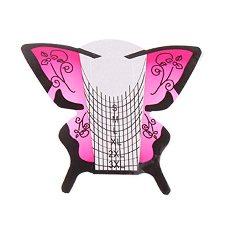 矩形趣味。Gaoominy 300個/ロール ネイルアートフォーム蝶彫刻のヒントステッカーガイド拡張アクリルUVジェルツール 給紙トレイB
