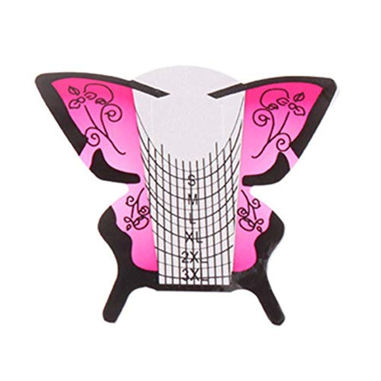 恐れる弁護比喩Gaoominy 300個/ロール ネイルアートフォーム蝶彫刻のヒントステッカーガイド拡張アクリルUVジェルツール 給紙トレイB