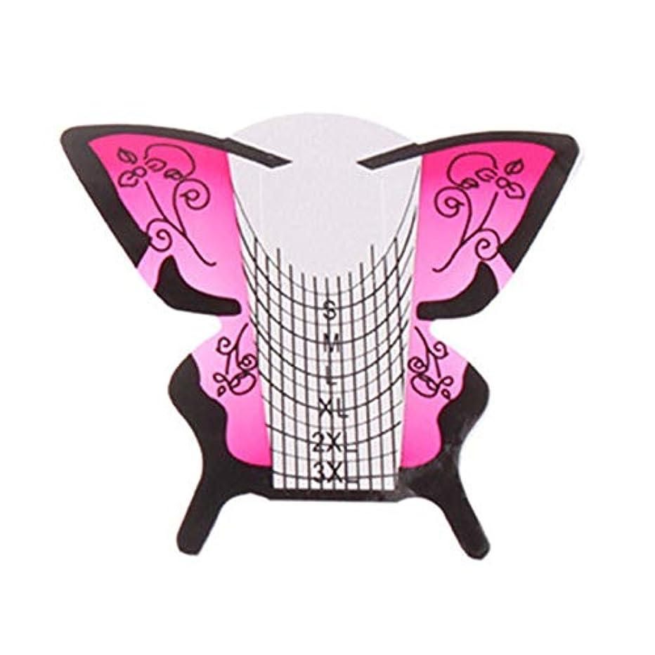 芽操縦する初心者Gaoominy 300個/ロール ネイルアートフォーム蝶彫刻のヒントステッカーガイド拡張アクリルUVジェルツール 給紙トレイB
