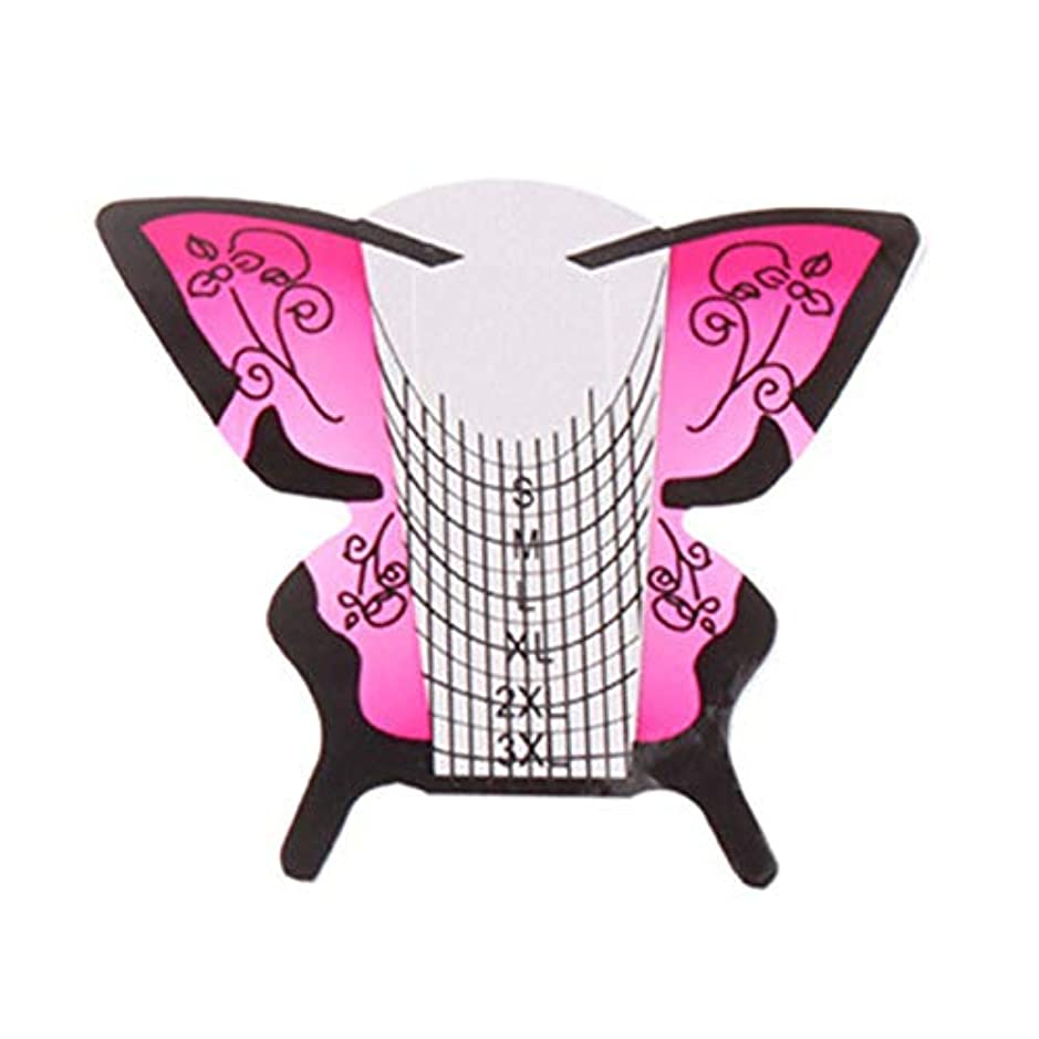 RETYLY 300個/ロール ネイルアートフォーム蝶彫刻のヒントステッカーガイド拡張アクリルUVジェルツール 給紙トレイB