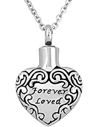 LovelyJewelry Forever Loved Urnネックレスfor灰ステンレススチールMemorial記念品鋼火葬ペンダント