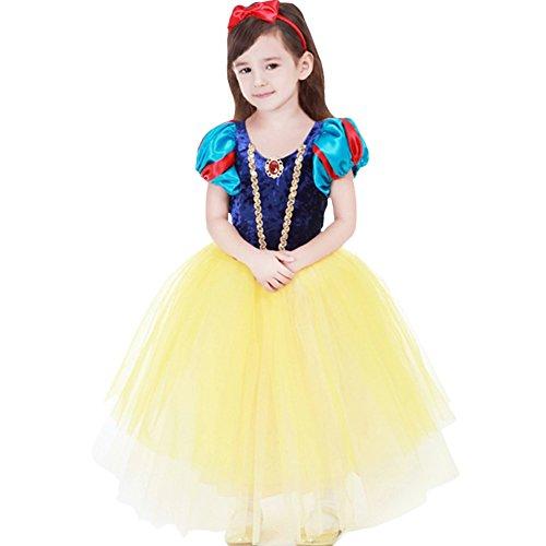 子供用 白雪姫風 ドレス+マント+カチューシャ プリンセス風 ワンピース 女児 女の子 白雪姫風 ドレス (120サイズ)