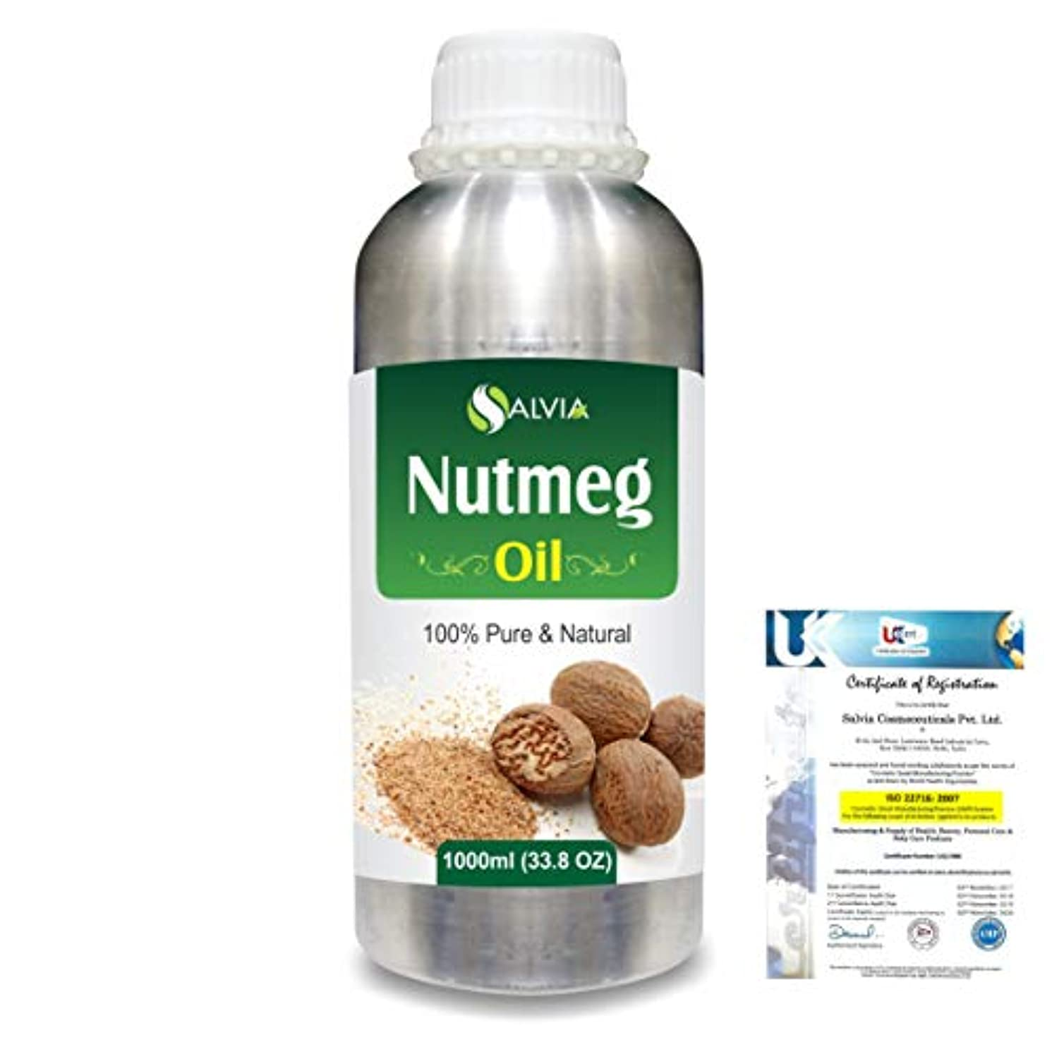 スリップ我慢する聞くNutmeg (Myristica fragrans) 100% Natural Pure Essential Oil 1000ml/33.8fl.oz.