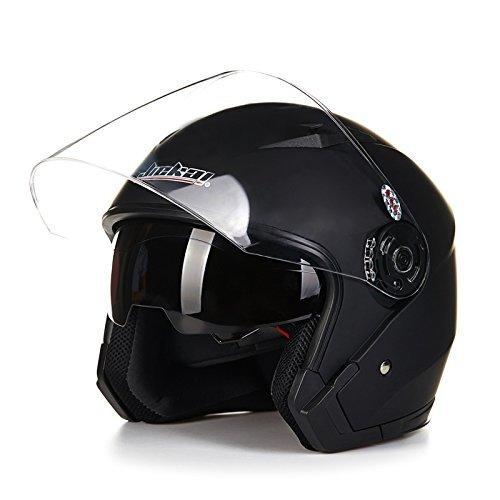 バイクヘルメット ジェットヘルメット JIEKAI JK-512 超人気 Bike Helmet メンズ レディース 10色選択可 艶消しブラック(透明シールド)XL