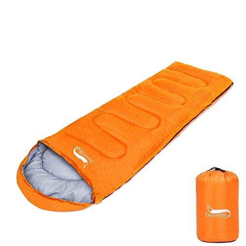 DesertFox 丸洗い OK 寝袋 封筒型 軽量 アウトドア 登山 車中泊 耐寒温度0度 収納袋付き