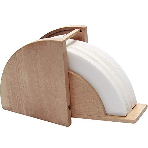 IKENOKOIコーヒーペーパーフィルターホルダー スタンド 防水 防塵 木製 100枚収納