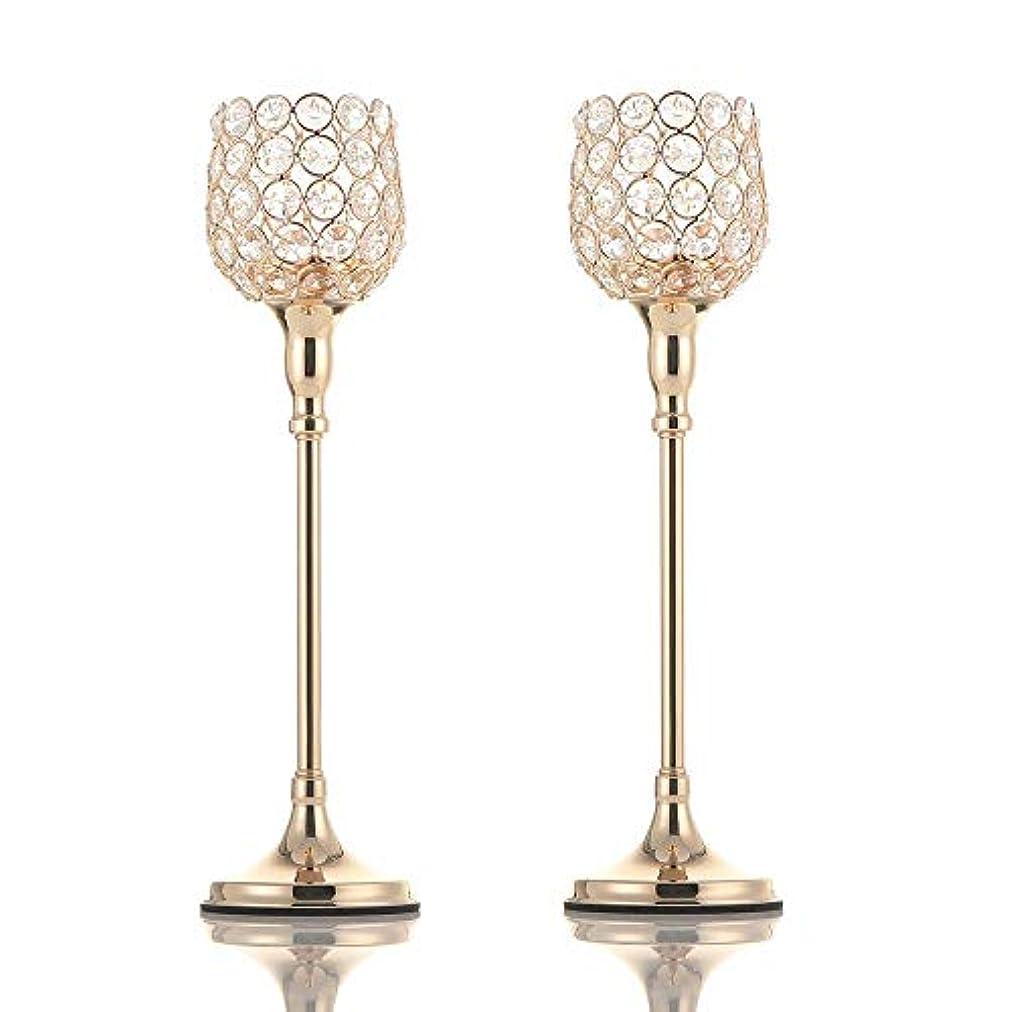 伝説イタリアの事務所VINCIGANTゴールデンクリスタルキャンドルスティックセット2枚38cm、結婚式、テーブル装飾、感謝祭、クリスマス、バレンタインデー、記念日に適しています