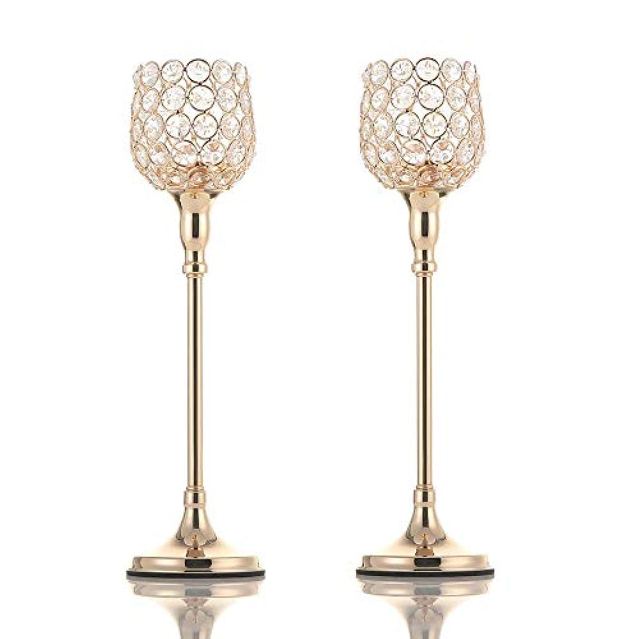 長々とトロリーバス額VINCIGANTゴールデンクリスタルキャンドルスティックセット2枚38cm、結婚式、テーブル装飾、感謝祭、クリスマス、バレンタインデー、記念日に適しています