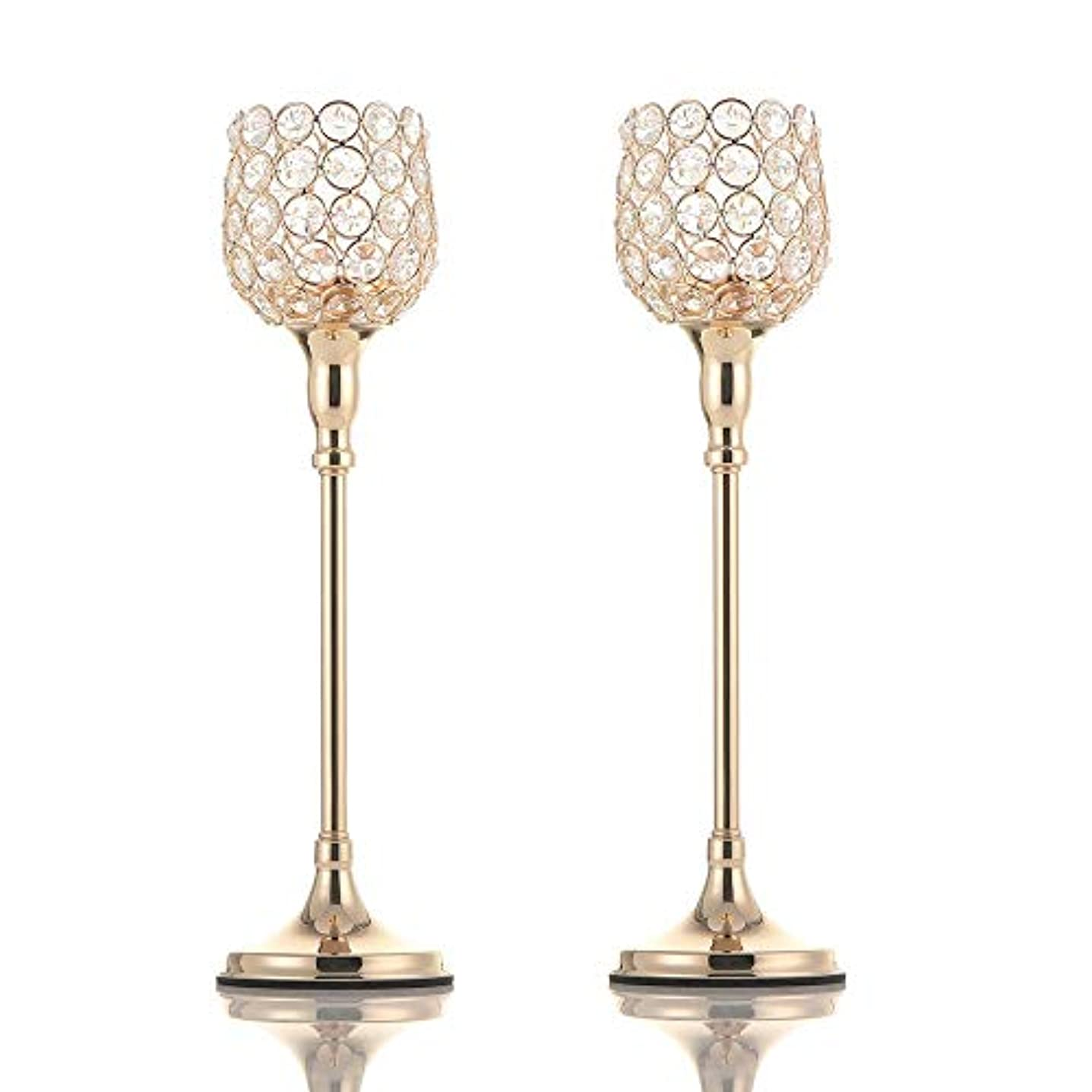 便利満足エスカレーターVINCIGANTゴールデンクリスタルキャンドルスティックセット2枚38cm、結婚式、テーブル装飾、感謝祭、クリスマス、バレンタインデー、記念日に適しています