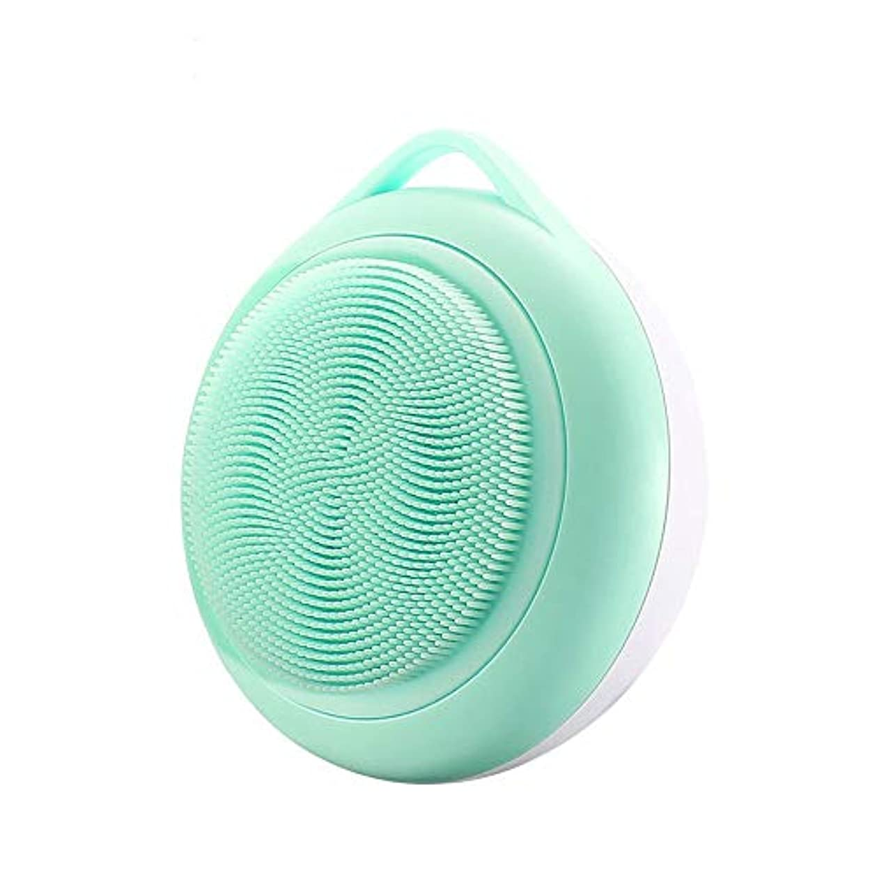 ドーム実現可能性人工的なフェイシャルクレンジングブラシ、シリコンフェイスブラシ、ディープポアクレンジング、にきび防止アンチエイジングスキンケア、フェイシャルマッサージ (Color : Green)