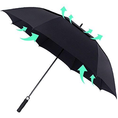 ACEIken ゴルフ傘 長傘 大きな傘 紳士傘 耐風傘 自動開けステッキ傘 158センチ 新強化グラスファイバー傘骨 超耐風撥水 梅雨対策 台風対応 収納ポーチ付き(ブラック)