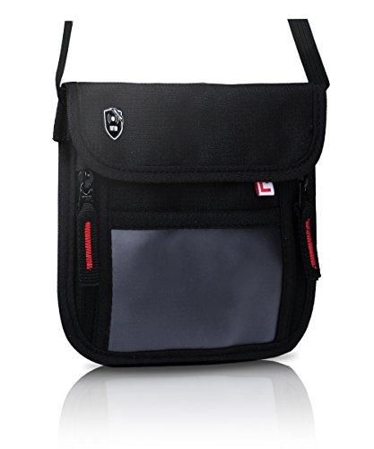 【2018最新改善版】PASSFIT-mini パスポート ケース 首下げ スキミング防止 パスポート入れ パスポートカバー パスポートケース 首掛け スキミング パスフィット (Mini-Black(黒×赤ファスナー))