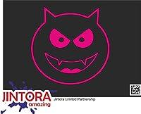 JINTORA ステッカー/カーステッカー - devil smile emoticon - 悪魔の笑顔の顔文字 - 99x99 mm - JDM/Die cut - 車/ウィンドウ/ラップトップ/ウィンドウ - ローザ