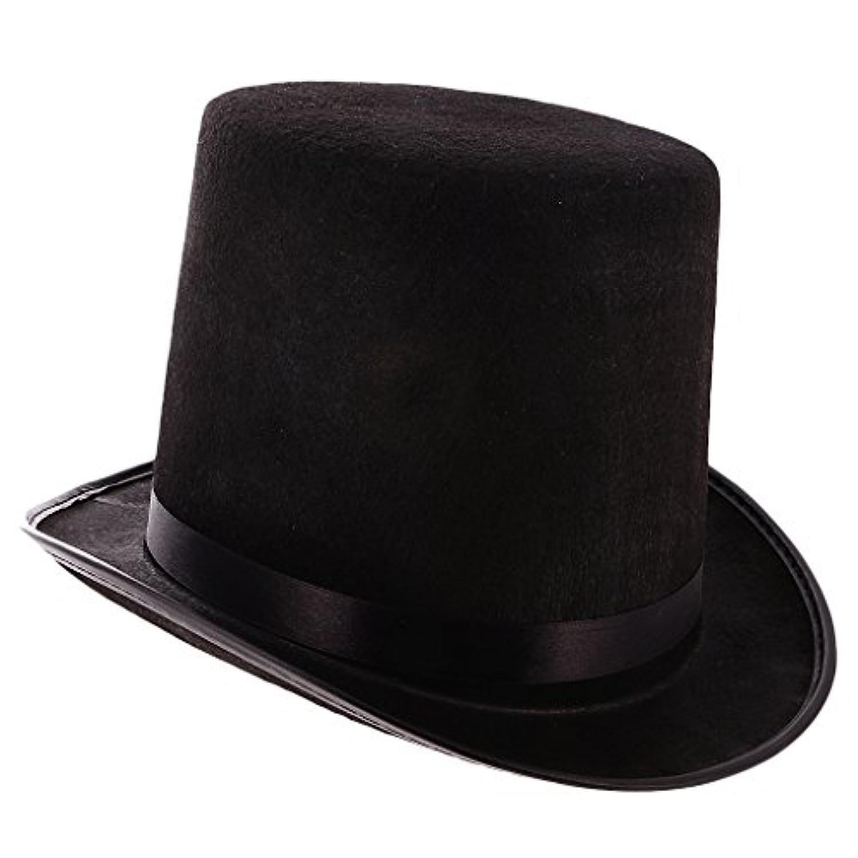 Perfeclan マジシャン黒帽子ハロウィーン帽子ジャズ帽子黒