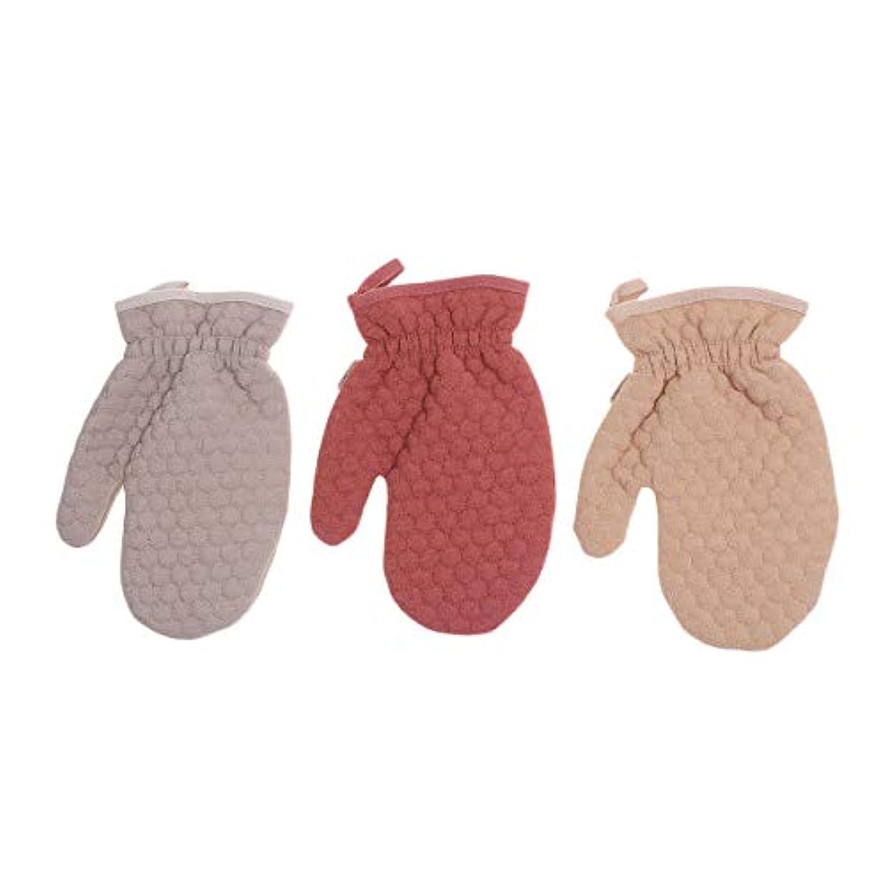 拡大するゆりかご収益Beaupretty 3本剥離手袋ダブルサイドシャワー手袋スクラブグローブシャワー用デュアルテクスチャバスグローブ(ダークレッドライトブラウンライトコーヒー)