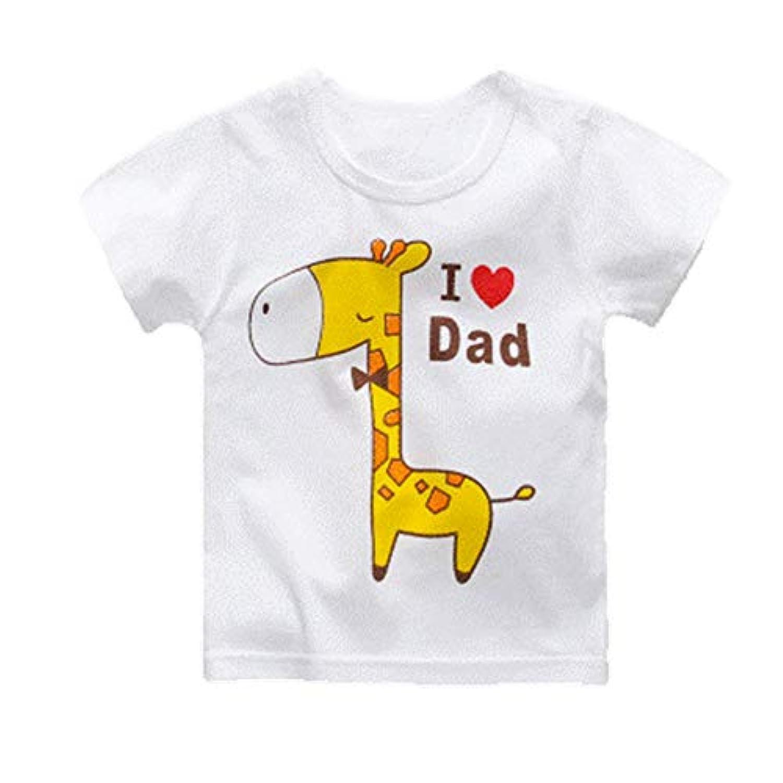 キッズ ベビーTシャツ 半袖  男女兼用 綿100% 白 かわいい 80cm 90cm (黄色キリン_80cm)