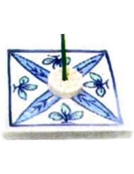 セラミック香皿 角 リーフ