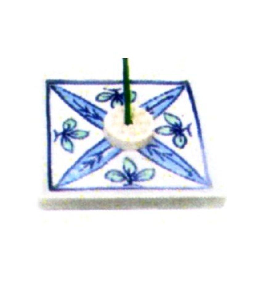 花輪クラッチブームセラミック香皿 角 リーフ