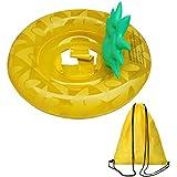 浮き輪 子供用 パイナップル型 足入れ 水遊び パインフロート キッズ ベビー用 海水浴 プール 収納袋付き