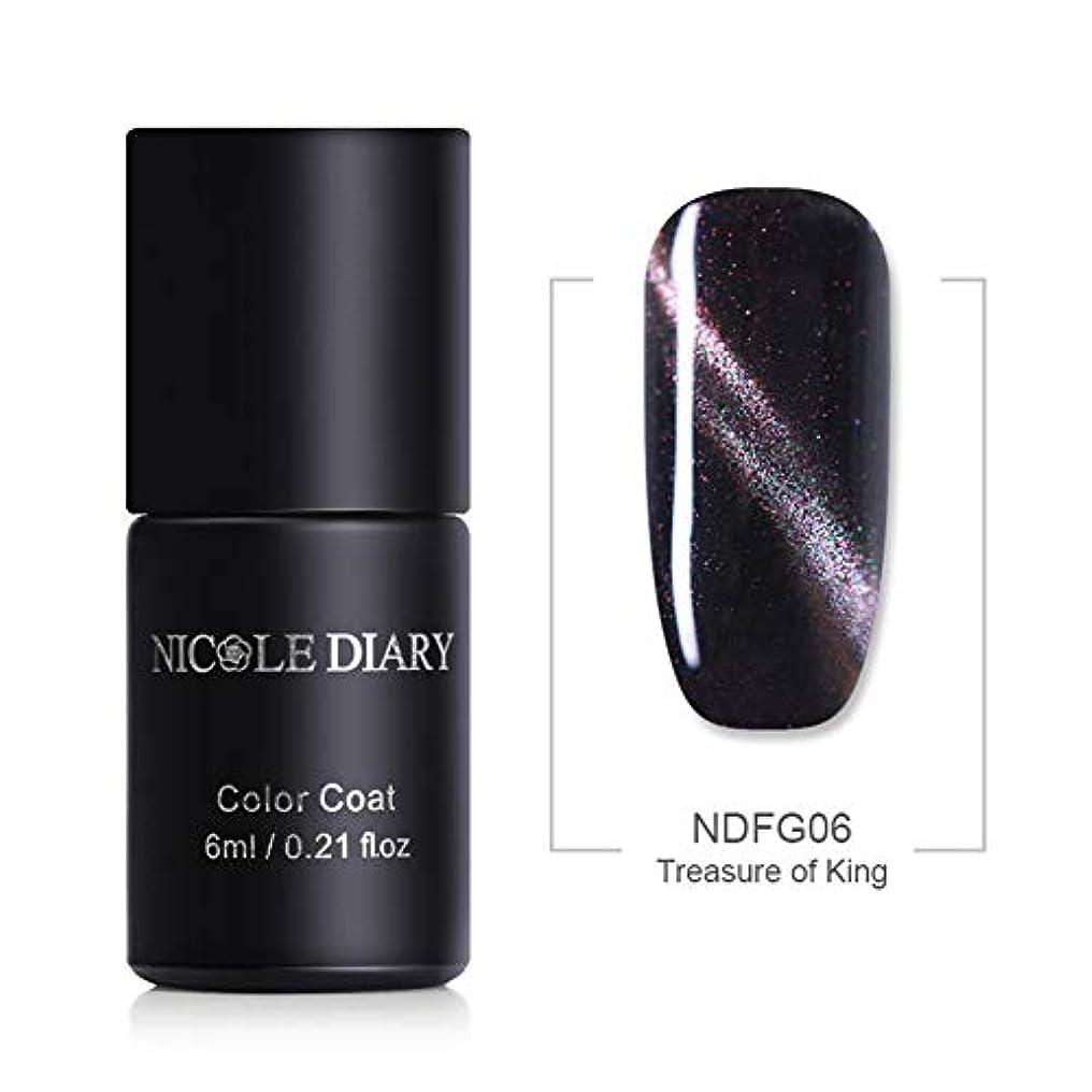 分析的なエーカー薄いNICOLE DIARY キャッツアイジェル 夜空の銀河の様な魅惑的な輝度 5色グリッター入り 6ml UV/LED対応 6色 磁石で模様が入る キャッツアイ ネイル ジェルネイル NDFG06 Treasure of King [並行輸入品]