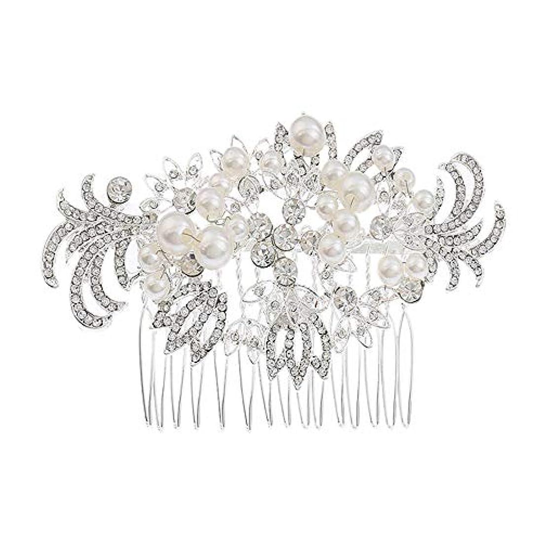 正確さ豊富にビリーヤギ髪の櫛挿入櫛花嫁の髪櫛真珠の髪の櫛ラインストーンの髪の櫛結婚式のヘアアクセサリー合金の帽子ブライダルヘッドドレス