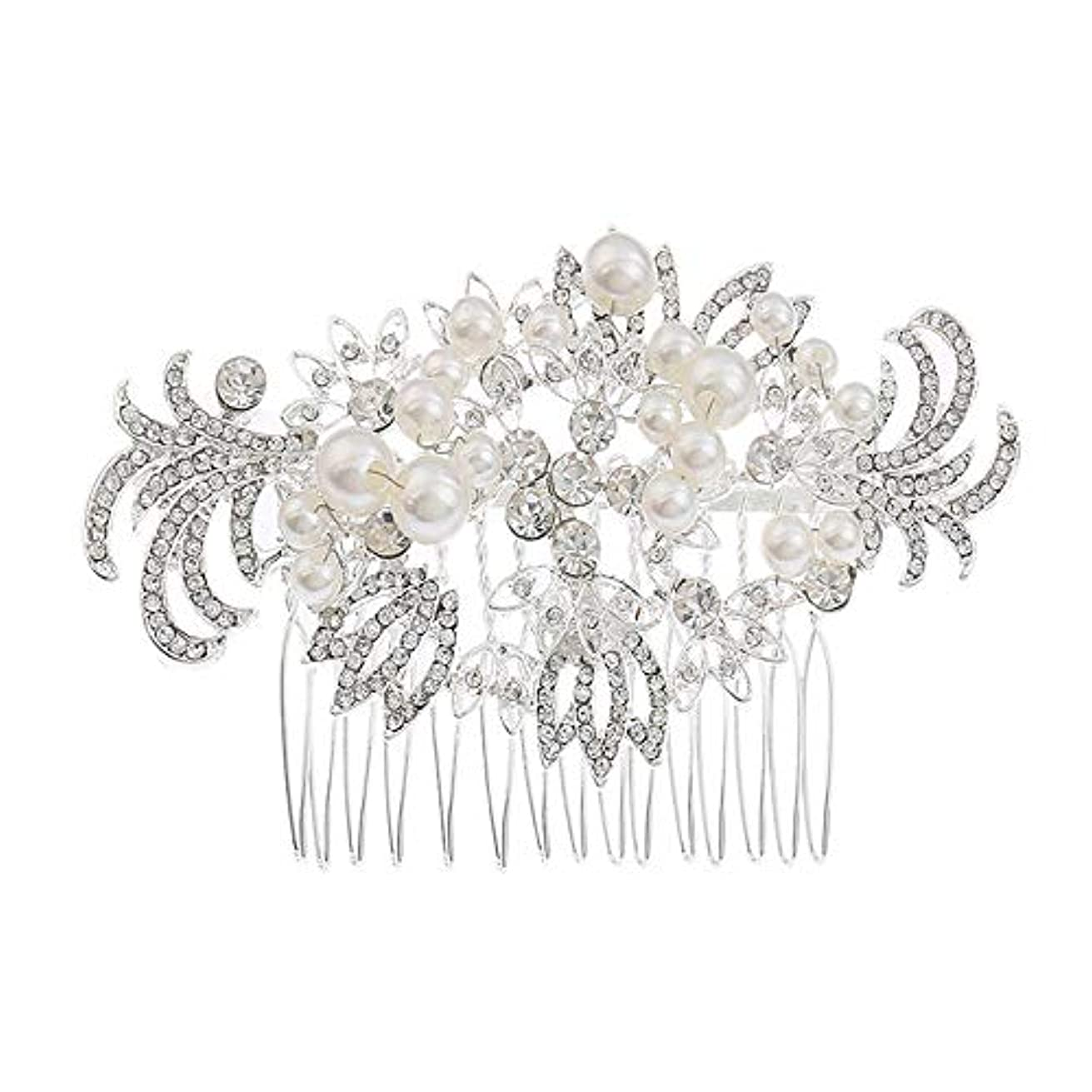 リラックスレキシコン立ち寄る髪の櫛挿入櫛花嫁の髪櫛真珠の髪の櫛ラインストーンの髪の櫛結婚式のヘアアクセサリー合金の帽子ブライダルヘッドドレス