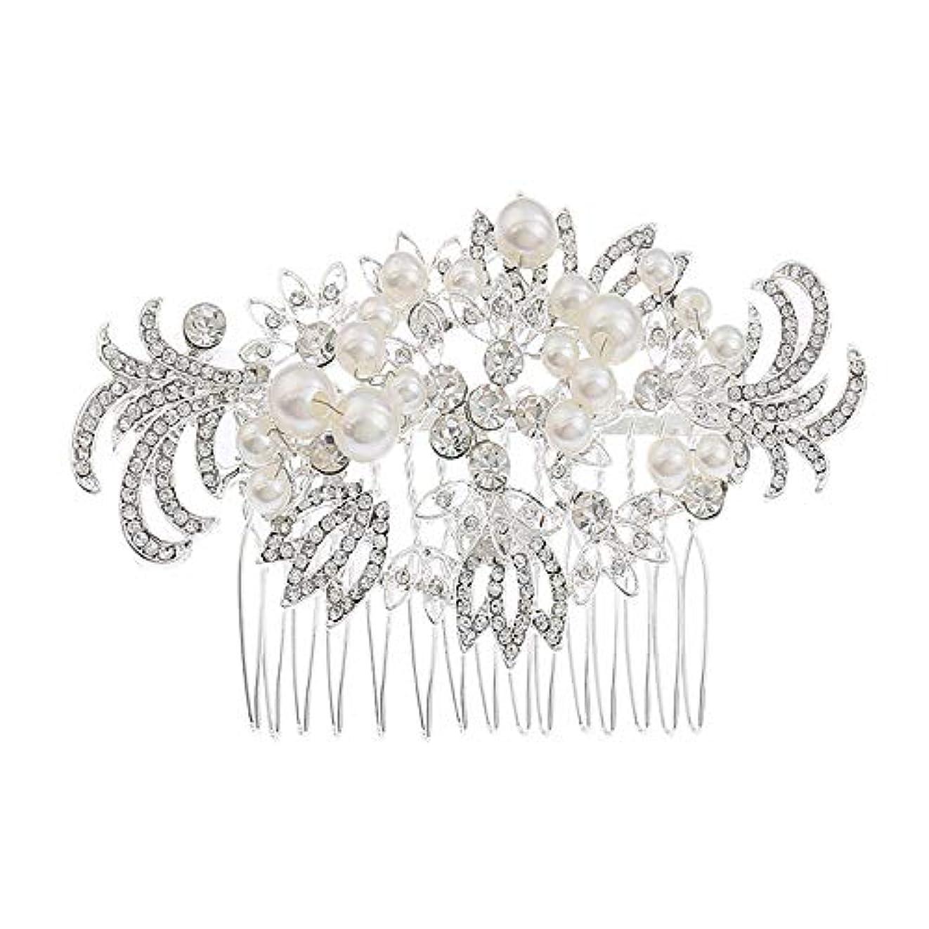 アッパー影響力のある好戦的な髪の櫛挿入櫛花嫁の髪櫛真珠の髪の櫛ラインストーンの髪の櫛結婚式のヘアアクセサリー合金の帽子ブライダルヘッドドレス