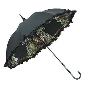 ルミエーブル マリス ド ランジュ 全2色 長傘 手開き 日傘/晴雨兼用 ブラック 8本骨 55cm UVカット グラスファイバー骨 0102-15005-c04