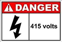 415ボルトの危険 メタルポスタレトロなポスタ安全標識壁パネル ティンサイン注意看板壁掛けプレート警告サイン絵図ショップ食料品ショッピングモールパーキングバークラブカフェレストラントイレ公共の場ギフト