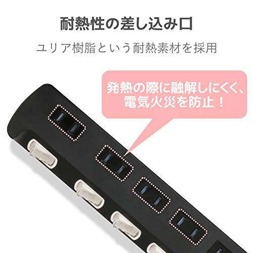 『エレコム 電源タップ 雷ガード 個別スイッチ ほこりシャッター付 6個口 3m ブラック T-K6A-2630BK』の5枚目の画像