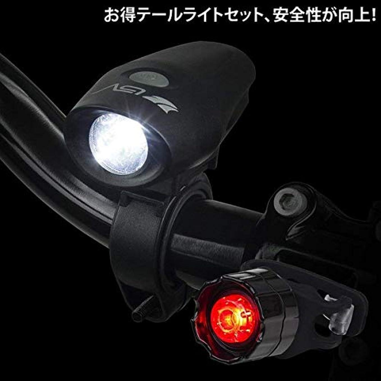 自殺同情的誇張する自転車ライト USB充電式 防水 高輝度LED JIS前照灯規格適合品 ヘッドライト テールライト セット (ブラック)