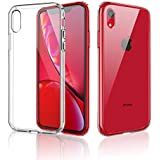 Meidom iPhone XR Case Glass Crystal Clear Slim Fit Silicone Bumper Tempered Glass Back Double Protection Phone Case iPhone XR (6.1 inch) - Clear