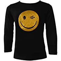 Aelstores Girls Glitter Shiny Sequin Tops Glitter Shiny Emoji Emoticons Sequins Tee Top Kids Age 7-13 Years